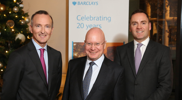 Adrian Doran, Barclays head of corporate banking, Barclays Corporate Bank chairman Kevin Wall and Jonathan Dobbin, Barclays head of wealth and investment management in Northern Ireland, at the event