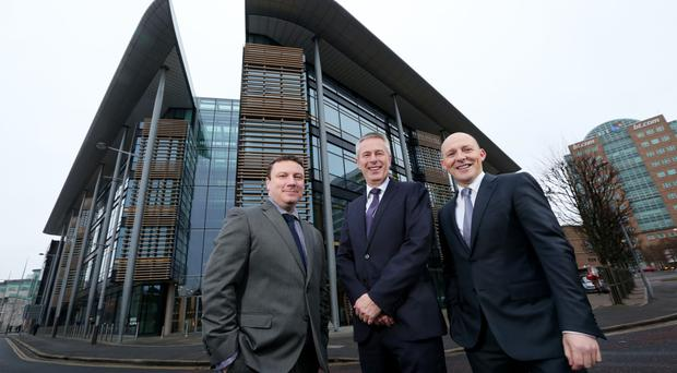 KPMG head of audit John Poole, partner in charge of KPMG in Northern Ireland John Hansen and head of tax Johnny Hanna at the Soloist Building