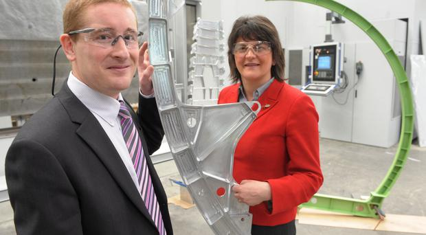 Arlene Foster, the then Enterprise Minister, with Mark Semple of Moyola Precision