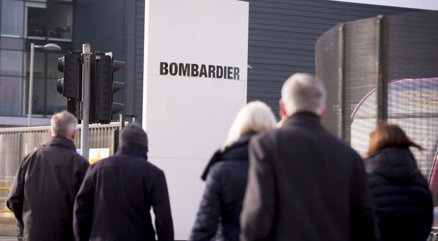 Workers at the Bombardier plant