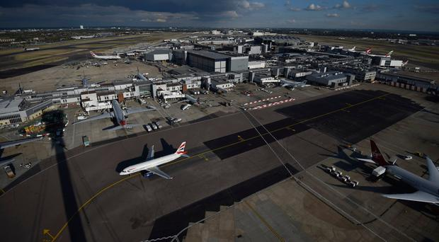 Planes on the ground at Heathrow Airport
