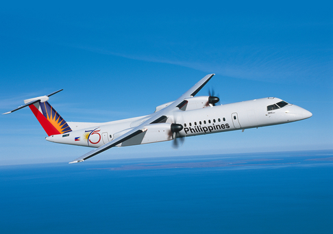 Bombardier's Q400 turboprop plane in its Philippine Airlines livery