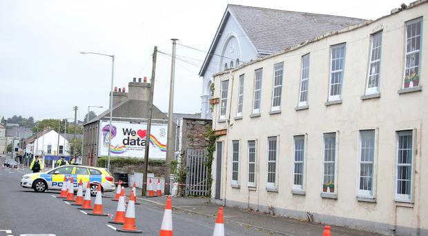 South Street in Newtownards was closed off in September this year amid fears that a wall would collapse, which it eventually did. Photo: Presseye