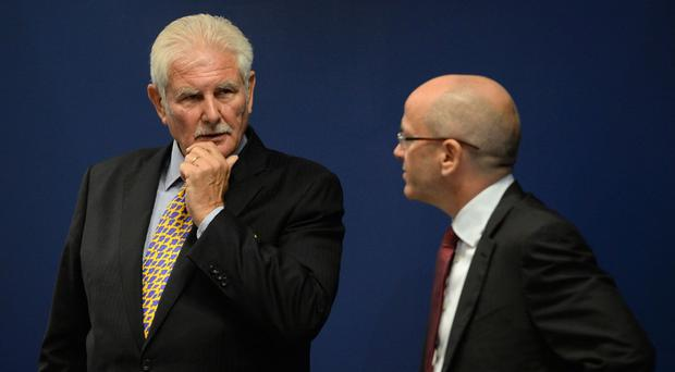 Sports Direct chairman Keith Hellawell (left) and then chief executive Dave Forsey at the company's AGM in September 2016