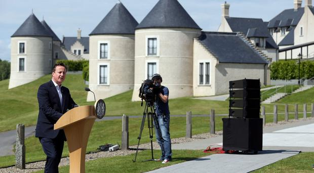 David Cameron at Lough Erne Resort during the G8 summit in 2013