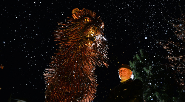 Douglas Gresham (stepson of CS Lewis) beside the statue of CS Lewis' most poignant character, the lion Aslan, from The Chronicles of Narnia, which was revealed to the public at the opening of CS Lewis Square in east Belfast