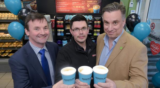 Ronan Gourley, National Sales Manager Ireland, UCC Coffee; David Bucklee, store manager at Milltown Spar, Ballymoney and Mark Stewart-Maunder, Business Development Director with Henderson Foodservice Ltd