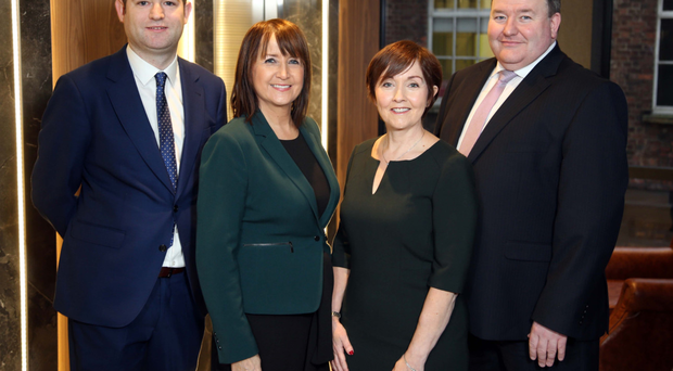 Chris Morrow (NI Chamber), Ann McGregor (NI Chamber), Maureen O'Reilly (Economist for the QES), and Brian Murphy (BDO)