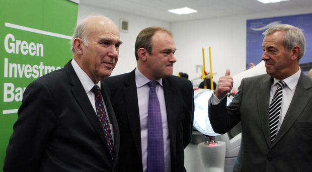 Lib Dem Vince Cable, left, at the press launch of the bank
