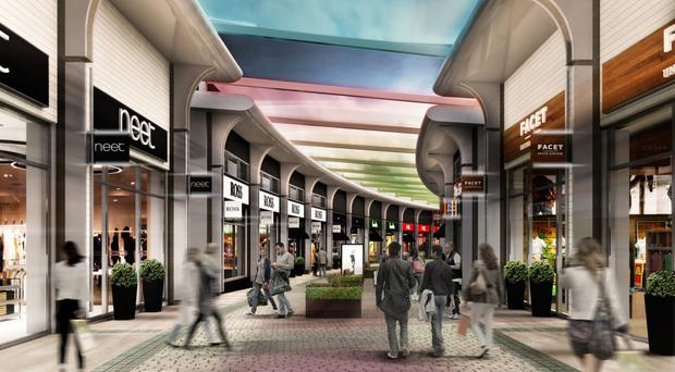 An artist's impression of the new-look Outlet retail park in Banbridge