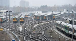 Trains parked at Selhurst Railway Depot in south London
