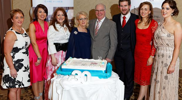 From left, Macklin staff Christine Thompson and Helen O'Doherty and (from right) Claire McCay and Clodagh Devlin being thanked by Macklin family members Cara, Mary, Brian and Gareth as the business marked its 30th year