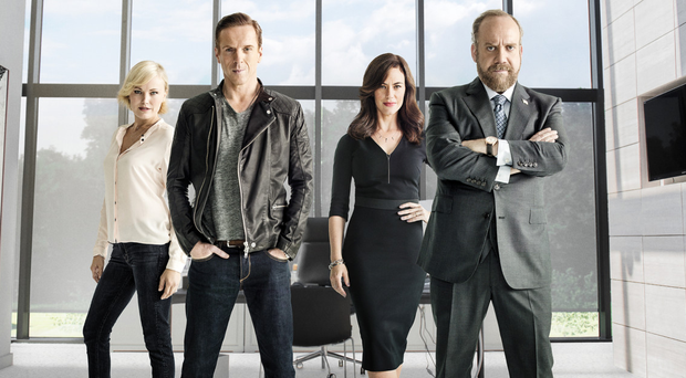 The stars of Sky's Billions tv series Malin Akerman as Lara Axelrod, Damian Lewis as Bobby