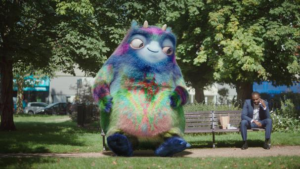 The Department of Work and Pensions unveils a giant fluffy creature named Workie - part of a new multimillion-pound campaign to raise awareness of workplace pensions
