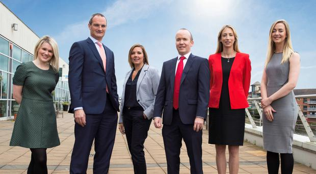 Belfast-based commercial law firm Davidson McDonnell. From left: Emma Robertson, solicitor; Ross Davidson, principal; Clare Templeton, solicitor; David McDonnell, principal; Vicky Dummigan, consultant and Michaela Kilpatrick, solicitor