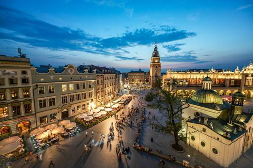 The main square in Krakow, Poland, which is enjoying a huge increase in visitors from Northern Ireland