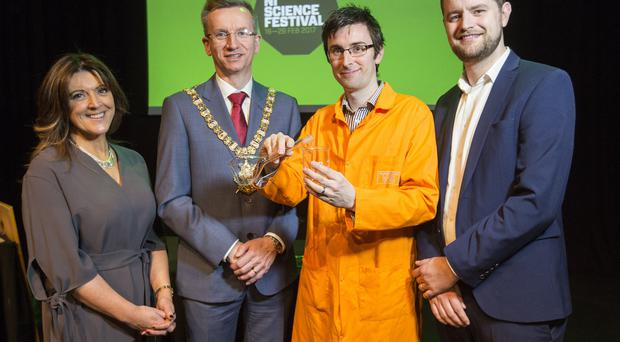 MCS director Louise Smyth, Lord Mayor Brian Kingston, festival scientist Matthew Loughlin and festival director Chris McCreery