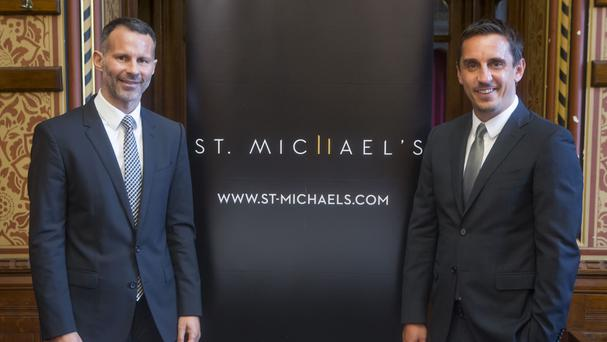 Ryan Giggs and Gary Neville unveiling their ambitious plans to build two new skyscrapers in central Manchester