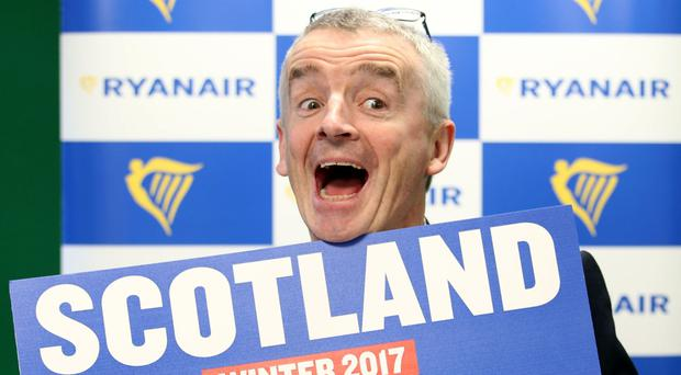 Ryanair chief executive Michael O'Leary during a press conference in Edinburgh where he announced its 2017 winter schedule for Scotland