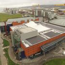 An aerial shot of the ongoing solar panel installation at the Odyssey Pavilion