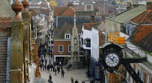 The High Street in Winchester, as ministers try to head off a rebellion by Tory MPs over business rate rises in the party's heartlands