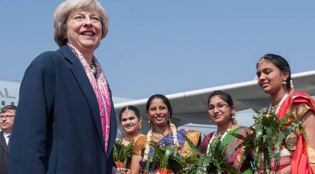 Prime Minister Theresa May in Bangalore during a three-day trade mission
