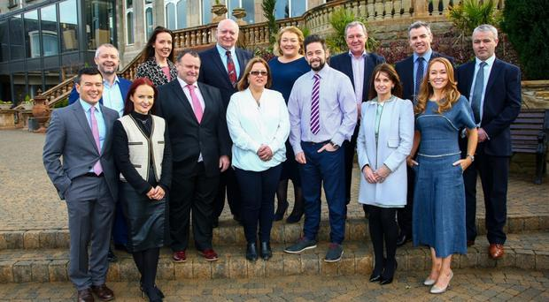 Previous winners, judges and sponsors of The Ulster Grocer Awards with Ulster Grocer manager Mark Beckett (front left), editor Emma Deighan (second, front left) and Ulster Grocer sales executive Michelle Kearney (second from right) at the launch event