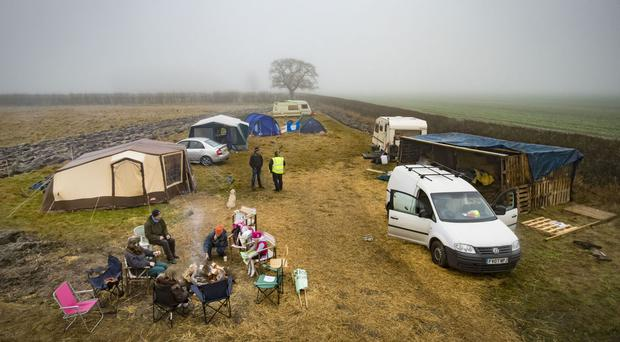 Protesters at an anti-fracking camp near Kirby Misperton
