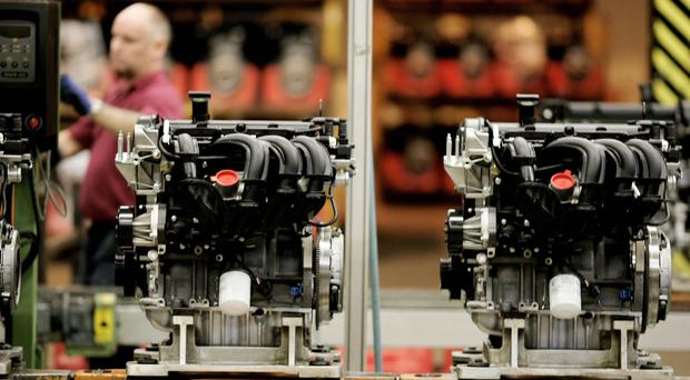 Engines being built on the production line at Ford's Bridgend Factory, South Wales
