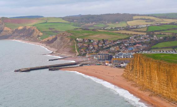 An aerial view of cliffs on the Jurassic Coast at West Bay, Dorset, where ITV's Broadchurch is filmed.