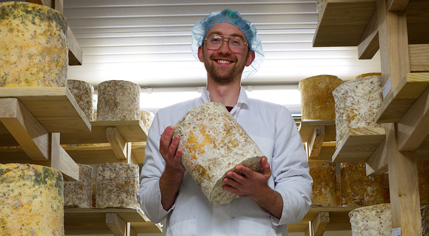 Mike Thomson with some of his Young Buck cheese which he is selling to German and French stockists