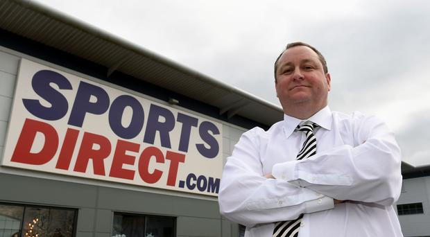 Sports Direct founder Mike Ashley outside the Sports Direct headquarters in Shirebrook