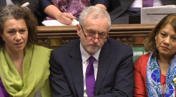 Jeremy Corbyn listening to the Budget statement