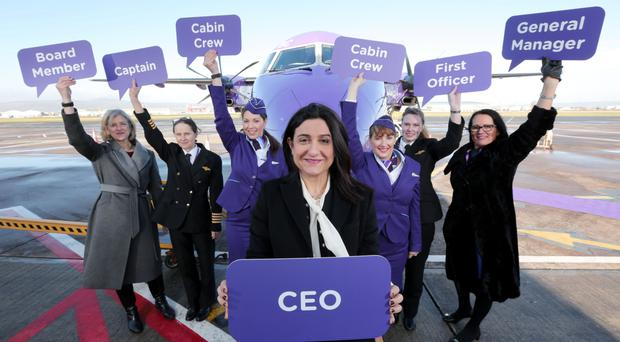 Flybe's new chief executive Christine Ourmieres-Widener celebrates International Women's Day at Belfast City Airport with an all female team including board member Liz McMeikin and NI general manager Andrea Hayes
