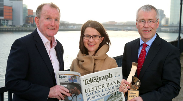 Richard McClean, Belfast Telegraph managing director, Margaret Canning Belfast Telegraph Business Editor and Richard Donnan head of Ulster Bank in Northern Ireland