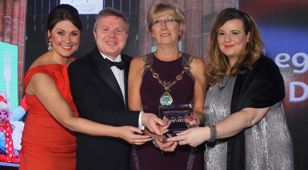 From left: Broadcaster Sarah Travers and Noel Lavery from DAERA present Derry and Strabane Council's Hilary McClintock and Mary Blake with the award for Best Food Event