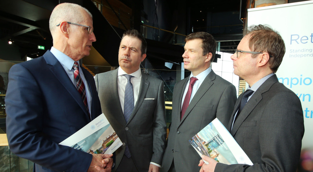 From left: SONI general manager Robin McCormick; Retail NI chief executive Glyn Roberts; chairman Nigel Maxwell, and Richard Caldwell of Danske Bank