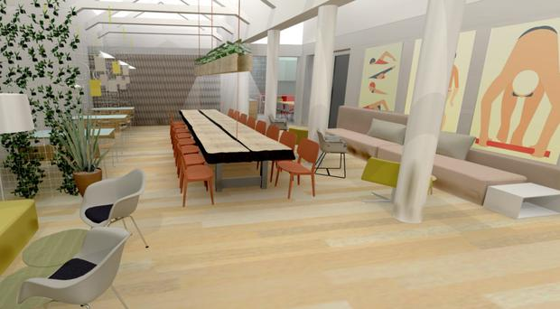 An artist's impression of the inside of the new entrepreneurs' hub at Ormeau Baths