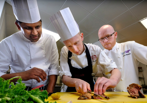 From left, Barath Kumar, head chef at the Radisson Blu, Max Buller and Gary Maclean