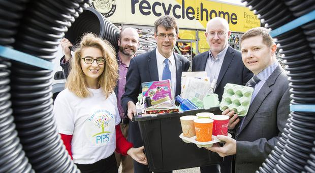 Tara Little from PIPS, with Kris McClelland, Cherry Pipes; Eric Randall, Director, Bryson Recycling; Fiacre O'Donnell, Encirc and Jeff Kearon, Huhtamaki at the launch the innovative Recycling Rewards, which encourages over 170,000 homes to recycle more