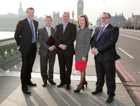 From left: Terry Simpson; Sir Jeffrey Donaldson MP; Councillor Uel Mackie; Dr Theresa Donaldson, and Graeme Douglas