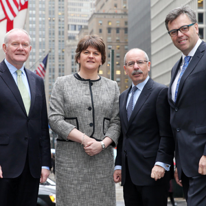 Former First Minister Arlene Foster and then Deputy First Minister Martin McGuinness with Shaun Kelly, global chief operating Officer for KPMG International, and Invest NI chief executive Alastair Hamilton in New York last year
