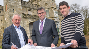 Mick Boyle with Alastair Hamilton of Invest NI and Mark Donohoe, project manager for the planned hotel
