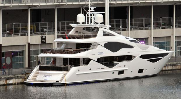 Sunseeker 131 luxury yacht on display at the London Boat Show
