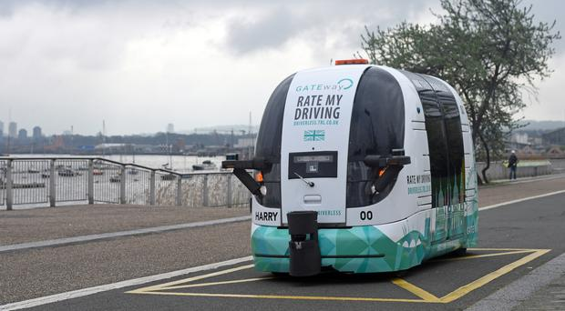 A driverless vehicle is run as part of the self-driving vehicle trials in Greenwich, London
