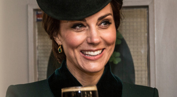 Catherine, Duchess of Cambridge, with a pint of Guinness on St Patrick's Day