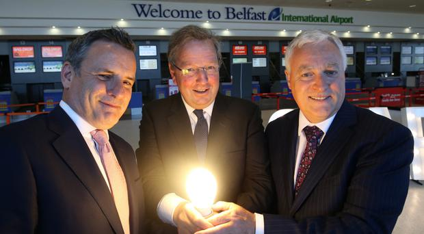 Lightsource chief Nick Boyle, UUP MP Danny Kinahan and Alan Whiteside of Belfast International Airport Northern Ireland man's solar energy business powers its way into ... - Belfast Telegraph Northern Ireland man's solar energy business powers its way into ... - Belfast Telegraph nimans1