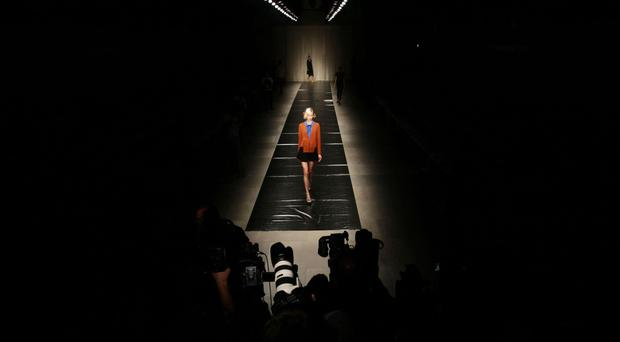 A model on the catwalk during the Jaeger London spring/summer 2012 show at London Fashion Week