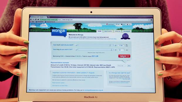 A view of the home website page the payday lender Wonga