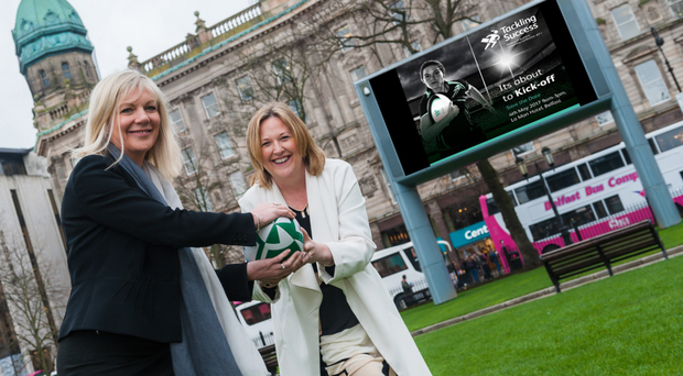 Suzanne Wylie, chief executive of Belfast City Council, and Roseann Kelly, chief executive of Women in Business